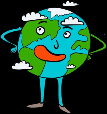Planeta Ziemia, wokół niej chmury, postać ma ręce i nogi, oczy, nos oraz usta, jest uśmiechnięta
