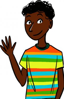 Czarnoskóry chłopiec w kolorowym T-shircie, macha ręką